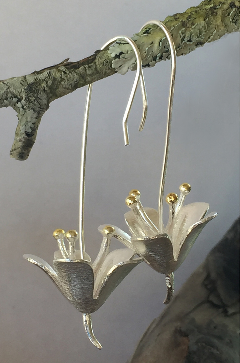 Sterling silver Aquilegia flower drop earrings.