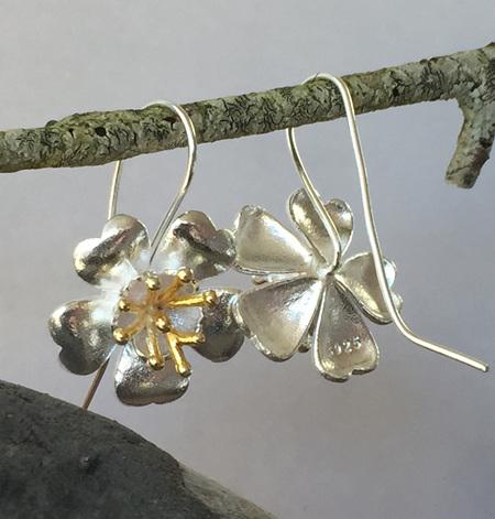 Sterling silver buttercup flower drop earring X16