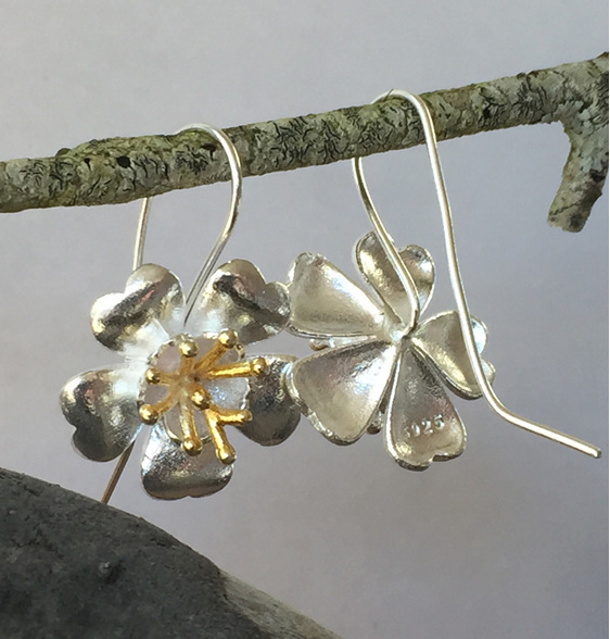 Sterling silver Buttercup flower drop earrings.