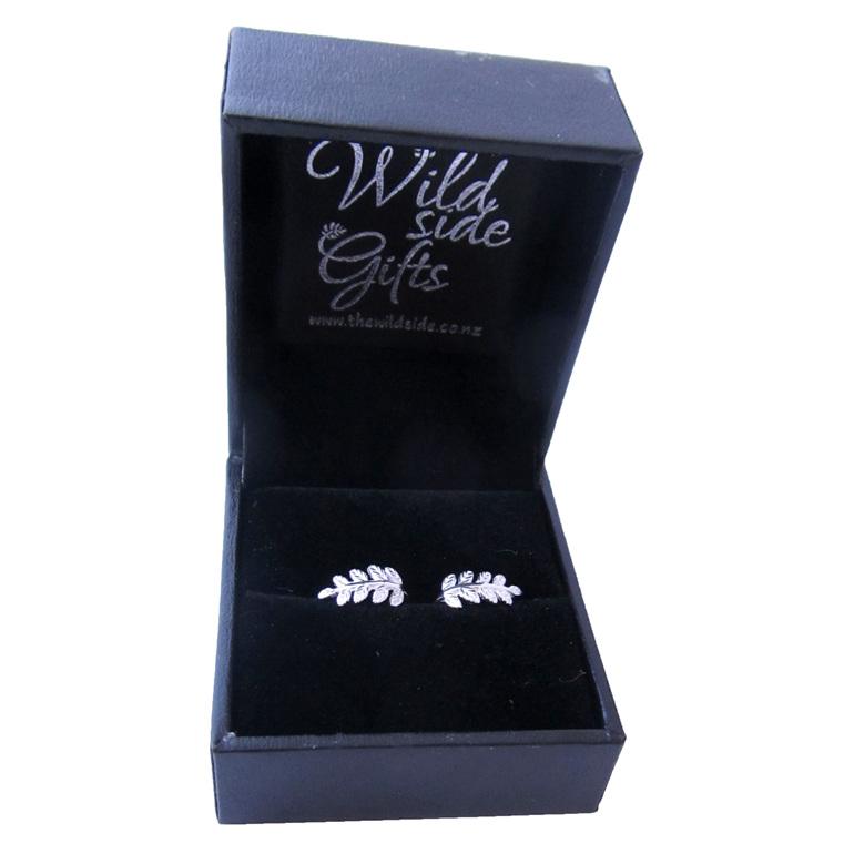 Sterling silver curled fern earrings