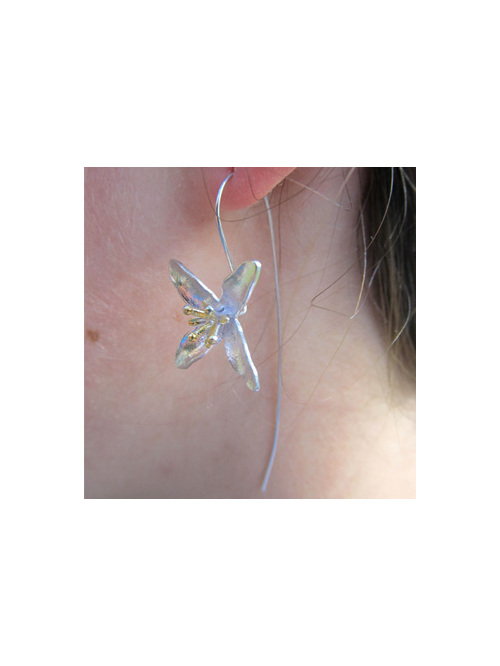 Sterling silver dainty flower drop earrings