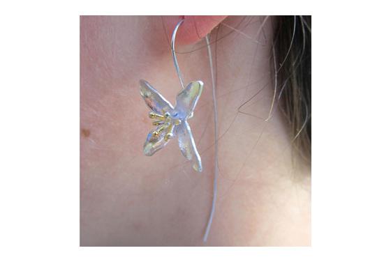 Sterling silver dainty flower drop earrings