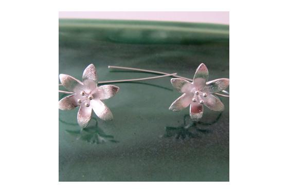 Sterling silver daisy drop earrings
