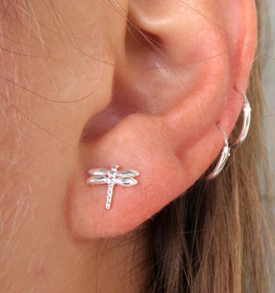 Dragonfly stud earrings (sterling silver) X34