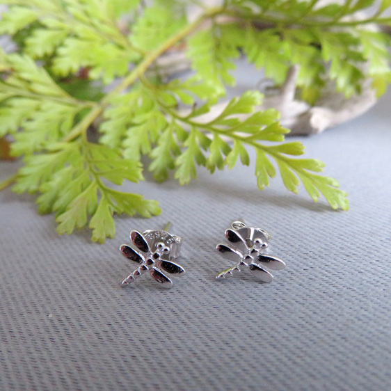 Sterling Silver dragonfly studs.