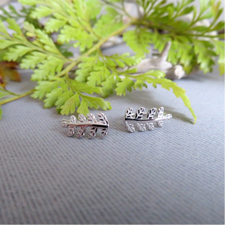 Sterling Silver fern cuff earrings