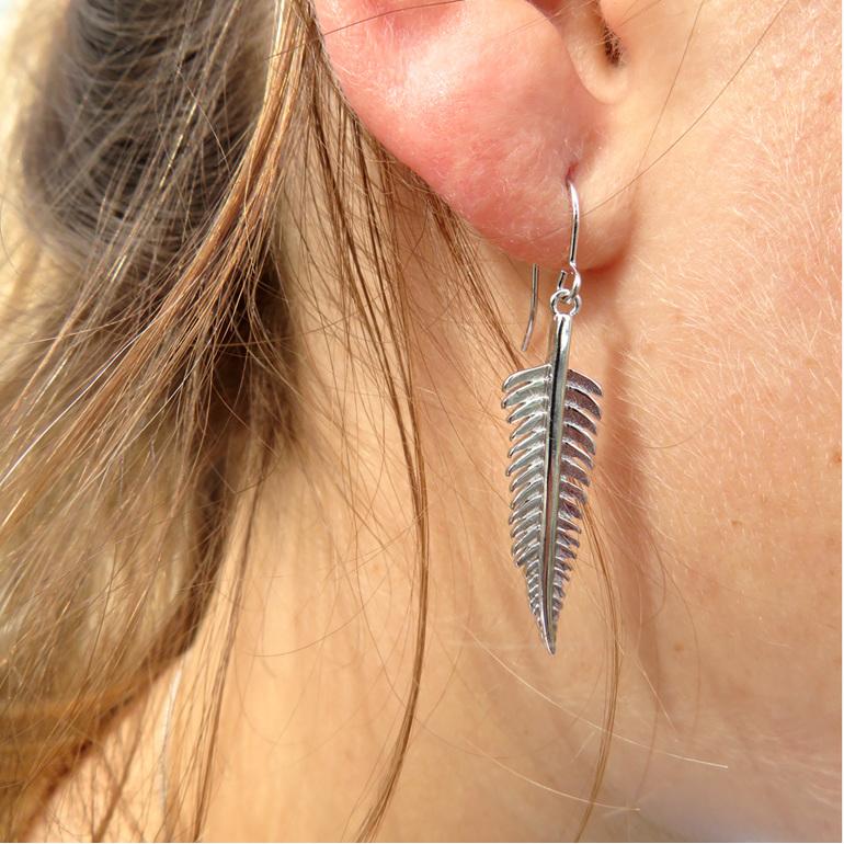Sterling silver fern drop earring