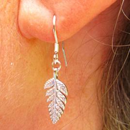 X13 Silver fern drop earrings