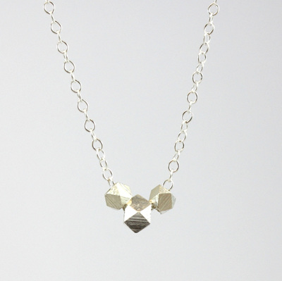 Sterling Silver Geo Bead Necklace
