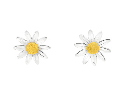 Sterling Silver Daisy Stud Earrings