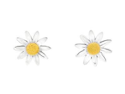 12mm Sterling Silver Daisy Stud Earrings