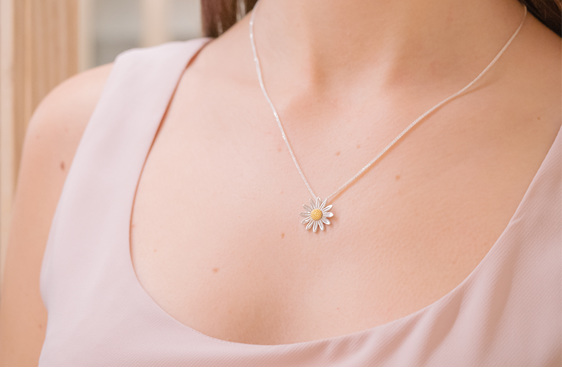 Sterling Silver, Gold Plated, NZ Daisies, Daisy Pendant
