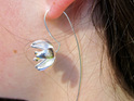 Sterling silver golden stamens flower drop earrings