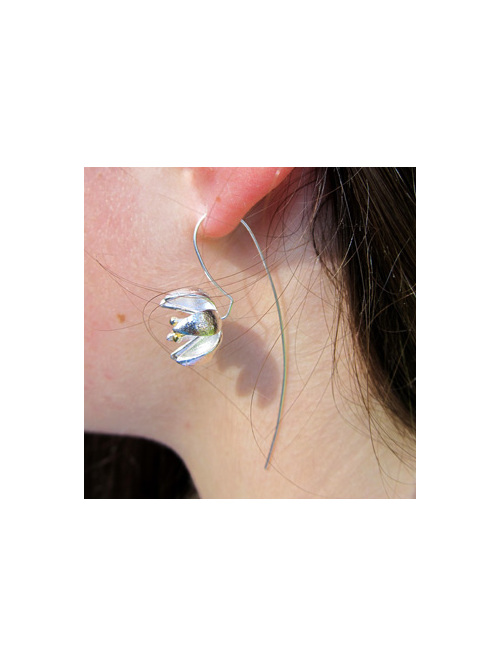 Sterling silver golden stamens flower drop earrings