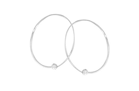 Sterling Silver Hoop Earrings with Round Ball