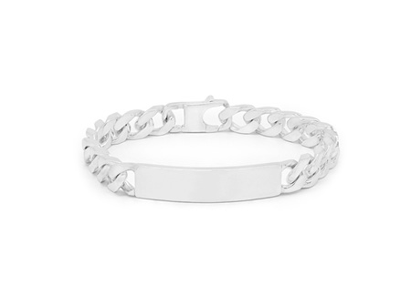 Sterling Silver ID Bracelet with Diamond Cut Curb Chain