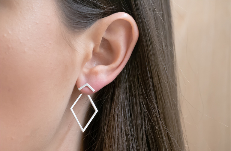 Sterling Silver, Impulse Geo, Earrings, Whim