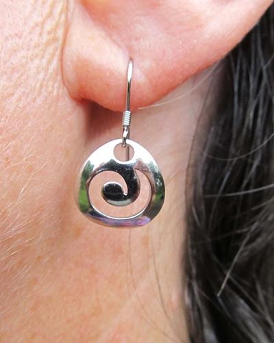 Sterling silver koru drop earrings