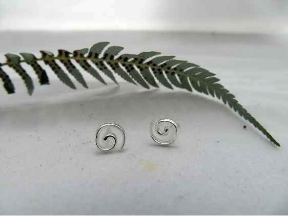 Sterling silver Koru stud earrings