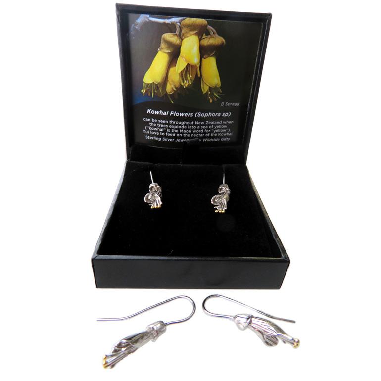 Sterling Silver Kowhai flower drop earrings