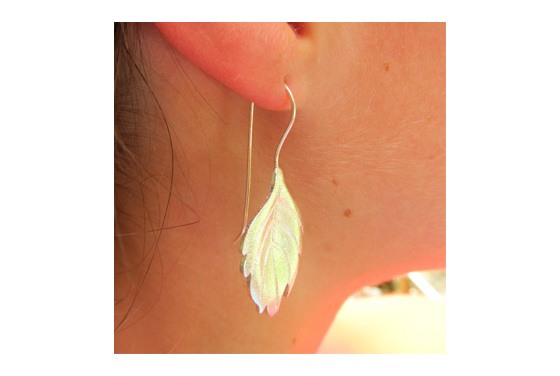 Sterling silver leaf drop earrings.