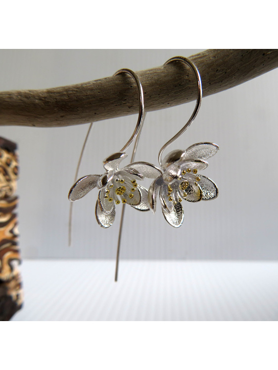 Sterling silver long stem Clematis flower drop earrings