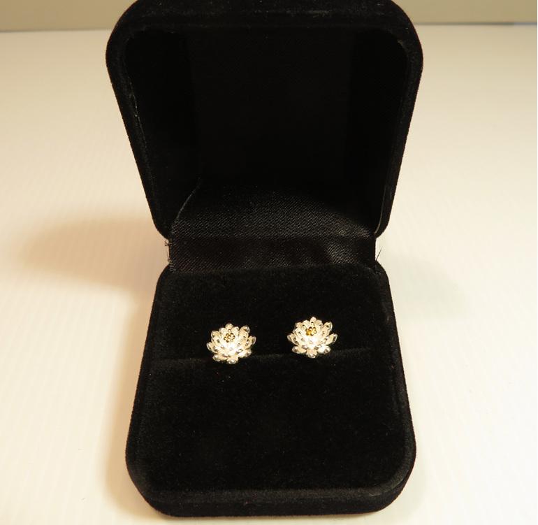 Sterling silver lotus flower stud earrings