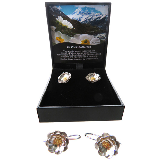 Sterling silver Mt Cook Lily drop earrings