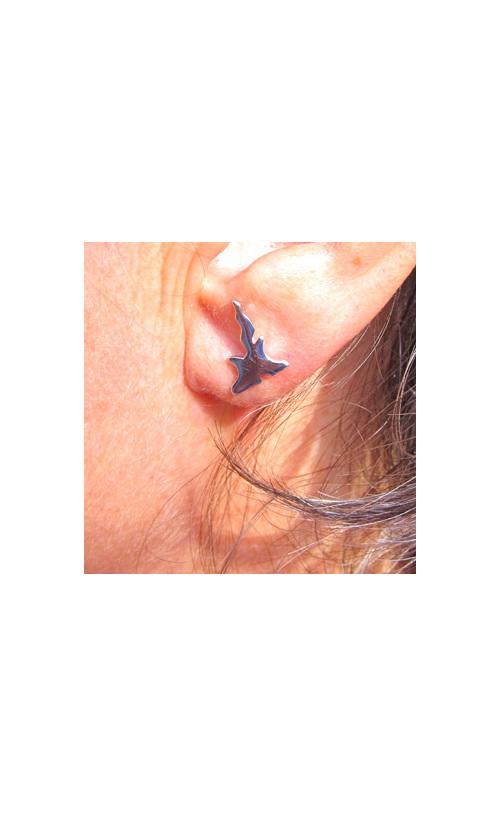 Sterling silver New Zealand Islands earrings - one island for each ear.