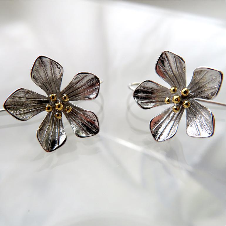 Sterling silver NZ Alpine Gentian flower drop earrings