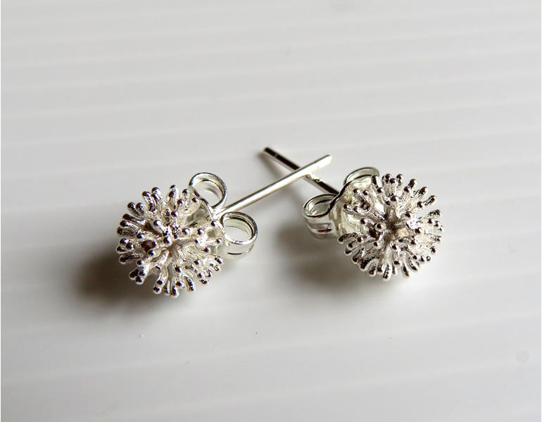 Sterling silver Pohutukawa stud earrings