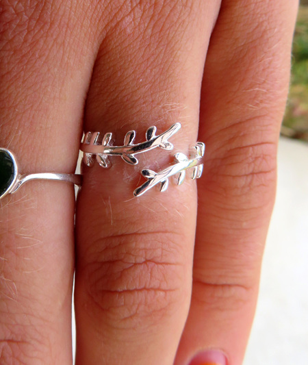 Sterling silver simple fern ring X27