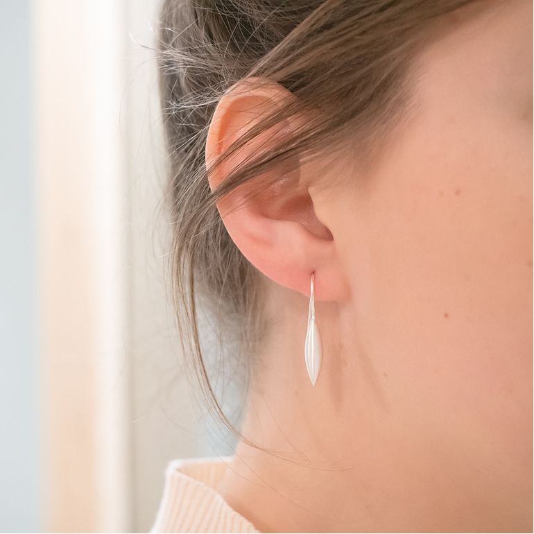 Sterling Silver Wheat Medium Earrings Milke Collection