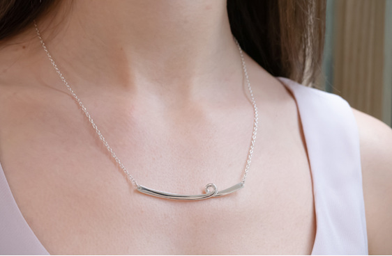 Sterling Silver, Whim Necklace, Flux