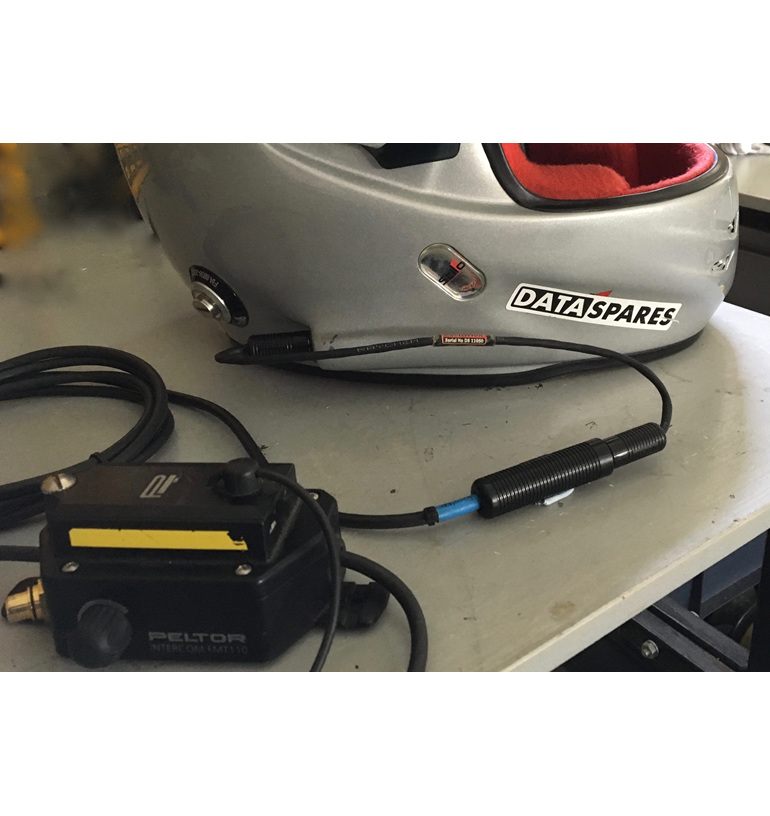Stilo helmet connected to Peltor amplifier