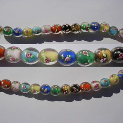 Strand of Multicolour Floral Lampworks