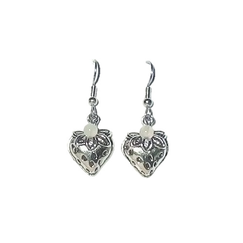Strawberry charm earrings with moonstone dangles