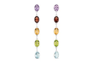 Streak of Colour White Gold Drop Stud Earrings