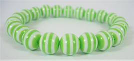 Stretch Stripey Bead Bangle: Green & White **Buy 3 for the price of 2**