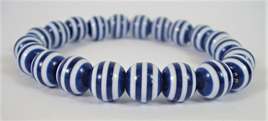 Stretch Stripey Bead Bangle: Navy Blue & White **Buy 3 for the price of 2**