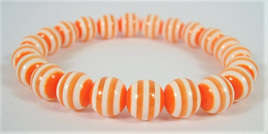 Stretch Stripey Bead Bangle: Orange & White **Buy 3 for the price of 2**