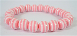 Stretch Stripey Bead Bangle: Pink & White  **Buy 3 for the price of 2**