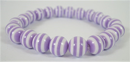 Stretch Stripey Bead Bangle: Purple & White **Buy 3 for the price of 2**