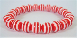 Stretch Stripey Bead Bangle: Red & White **Buy 3 for the price of 2**