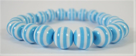 Stretch Stripey Bead Bangle: Sky Blue & White **Buy 3 for the price of 2**