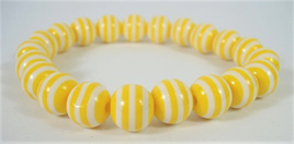 Stretch Stripey Bead Bangle: Yellow & White **Buy 3 for the price of 2**