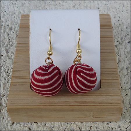 Striped Round Drop Earrings