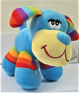 Stripes Dog Soft Toy: Blue