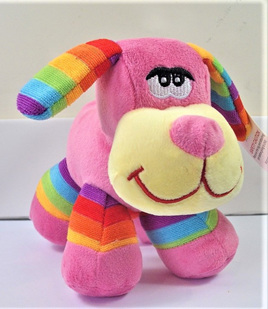 Stripes Dog Soft Toy: Pink