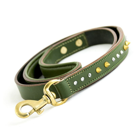 Studded Green Leather Dog Leash with Brass Snap by Rogue Royalty